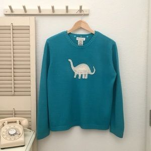 White Stag Pull Over Sweater w/Dinosaur Appliqué